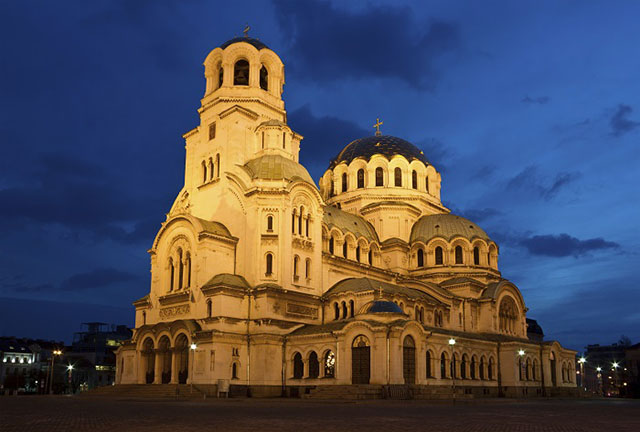 Nightshot of Cathedral Alexandar Nevsky in Sofia